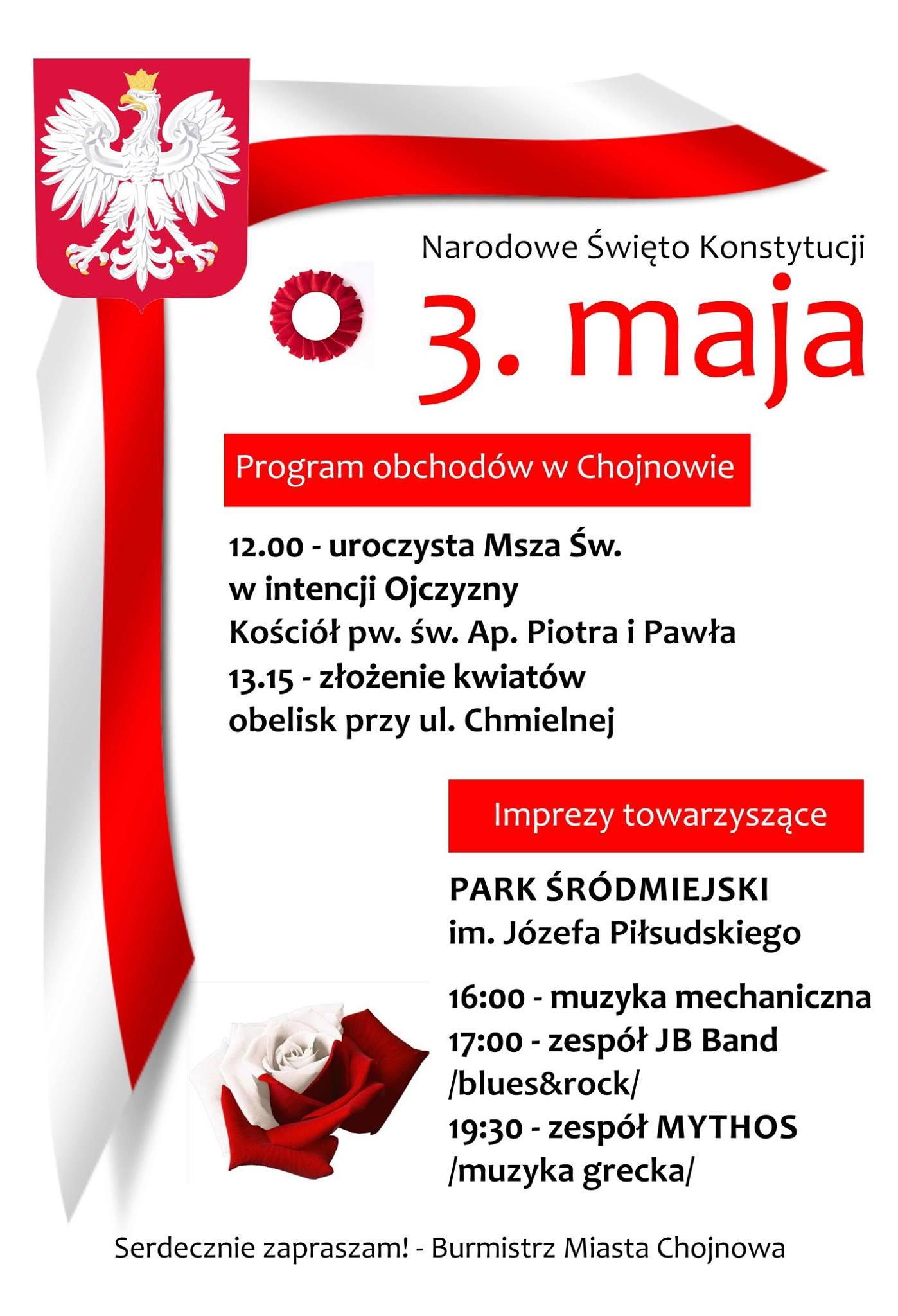 Zapraszamy na obchody Narodowego Święta Konstytucji 3 maja w Chojnowie…